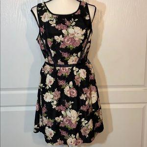 Three pink hearts sleeveless floral printed dress